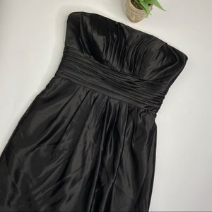 Bill Levkoff Black Satin Gathered Strapless Dress